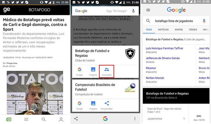 Google Now a um toque tem informação rápida sobre times e escalações (Foto: Reprodução/Elson de Souza)