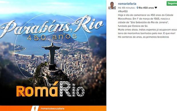 Romario homenagem ao Rio no Instagram