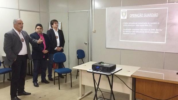 Delegado Ben-Hur de Medeiros apresentou o resultado da Operação Guardião (Foto: Heloisa Guimarães/Inter TV Cabugi)