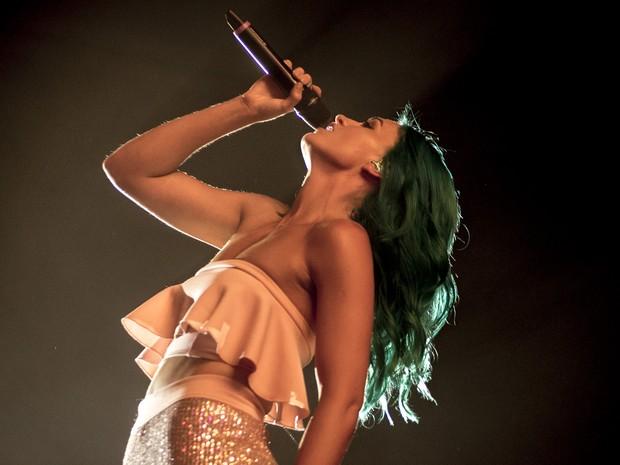 Amy, vocalista do Sheppard, toca no Palco Mundo neste sábado (26) (Foto: Luciano Oliveira/G1)