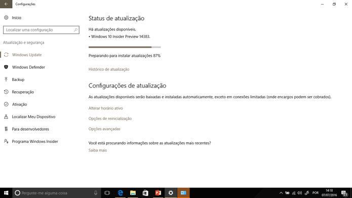 Build 14383 do Windows 10 já pode ser baixada por participantes do Windows Insider (Foto: Reprodução/Elson de Souza)