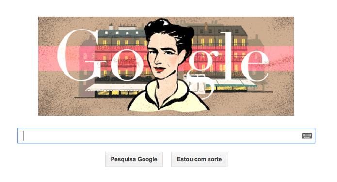 Simone de Beauvoir, escritora e filósofa francesa, é tema de Doodle do Google (Foto: Reprodução/Google)
