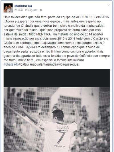 Marinho revela mágoa após não ter seu cotrato não renovado com Orlândia (Foto: Reprodução/ Facebook)