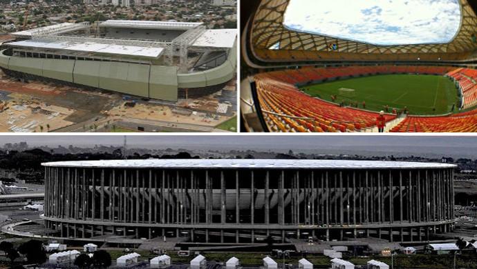 Arena Pantanal, Arena da Amazônia e Mané Garrinha (Foto: Montagem/Globoesporte.com)