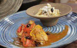 Guisado de frango com risoto de penne com shimeji