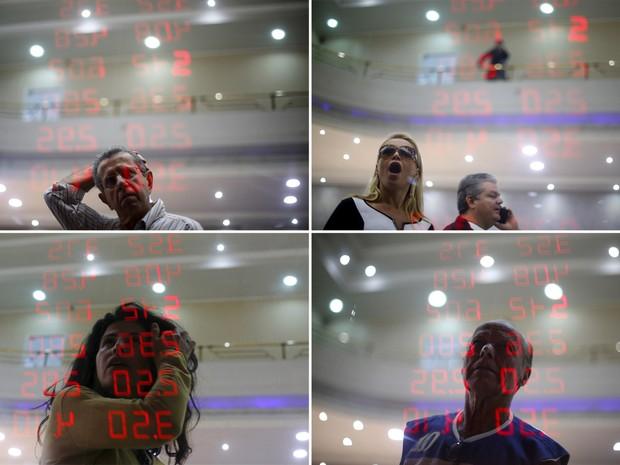 Combinação de fotos mostra a reação de diferentes pessoas ao ver a cotação do dólar e outras moedas em relação ao real no painel eletrônico de uma casa de câmbio no Rio de Janeiro. A moeda americana fechou a R$3,60 nesta quarta-feira (26)  (Foto: Ricardo Moraes/Reuters)