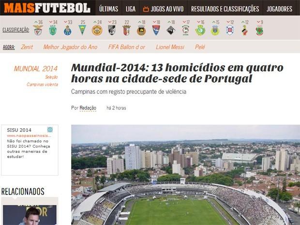 Mais Futebol noticia mortes (Foto: Reprodução)