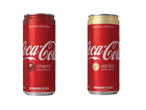Baunilha e cereja: sabores de Coca-Cola também disponíveis no Brasil (Foto: Divulgação)