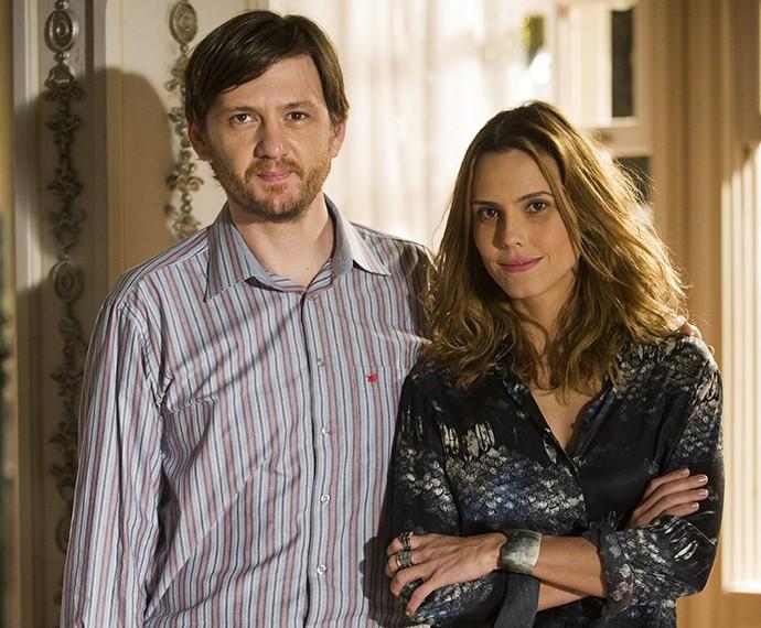 Rochinha (André Frateschi) e Laura (Lívia de Bueno) na trama (Foto: João Miguel Júnior / TV Globo)