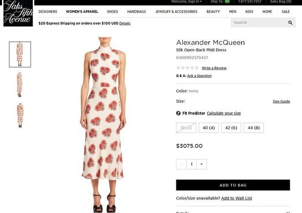 Vestido usado por Kate Middleton  (Foto: Reprodução)