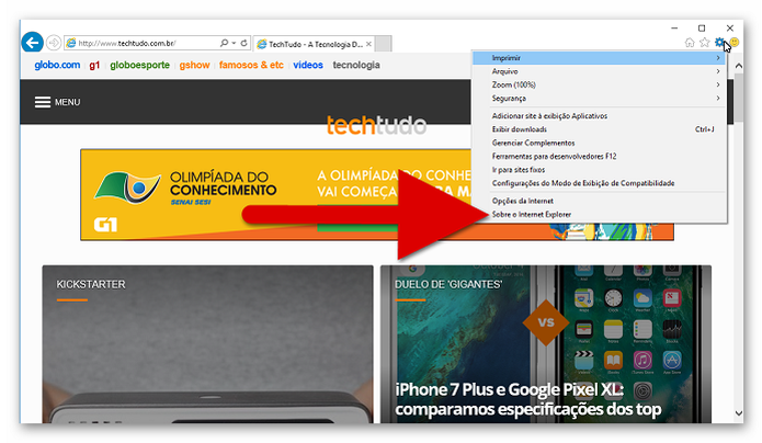 """Acesse a opção """"Sobre o Internet Explorer"""" (Foto: Reprodução/Helito Bijora)  (Foto: Acesse a opção """"Sobre o Internet Explorer"""" (Foto: Reprodução/Helito Bijora) )"""