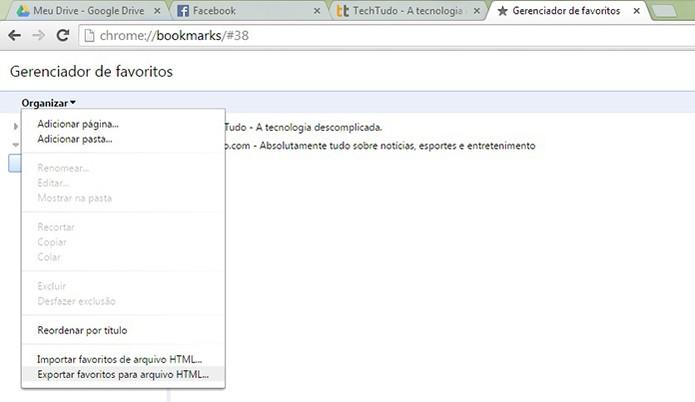 Clique em Organizar no Chrome e salve o arquivo em HTML (Foto: Reprodução/Barbara Mannara)