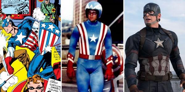 Capitão América nos quadrinhos (1940), na televisão (1979) e no cinema (2016) (Foto: Divulgação)