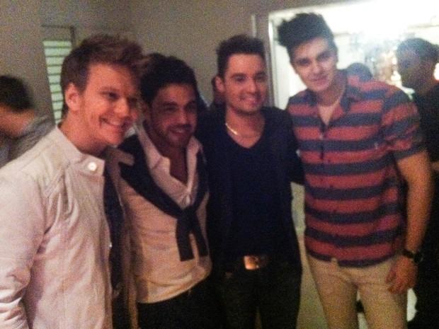 Michel Teló, Zezé Di Camargo, Fernando e Luan Santana em festa em São Paulo (Foto: Manuela Scarpa/ Foto Rio News)