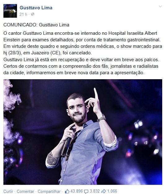 Comunicado sobre a internação de Gusttavo Lima divulgado sábado em suas redes sociais (Foto: Reprodução/Facebook)