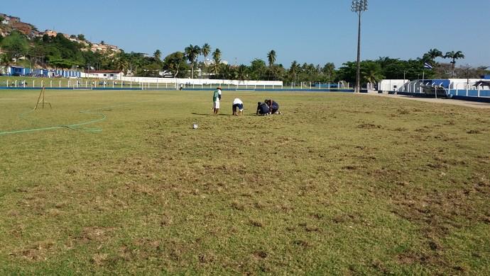 Funcionários trabalham para melhor gramado do campo do CSA (Foto: Augusto Oliveira/GloboEsporte.com)