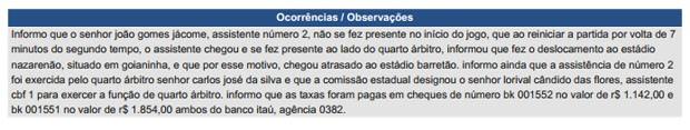 Árbitro relata em súmula o atraso do assistente João Gomes Jácome, do Acre (Foto: Reprodução)