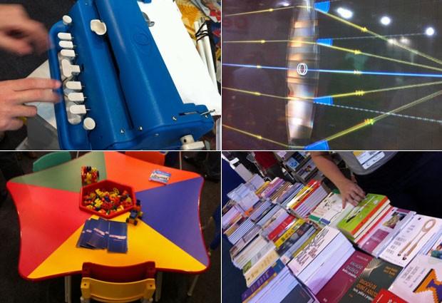 Educar oferece produtos em várias áreas da educação, como inclusão, projetores em 3D, carteiras e livros didáticos (Foto: Ana Carolina Moreno/G1)