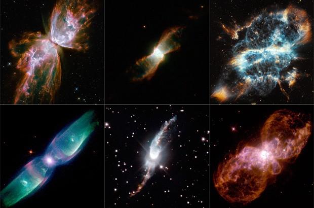 Conjunto de nebulosas planetárias captadas pelo telescópio Hubble (Foto: Nasa)