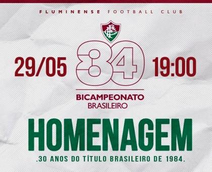 Convite 30 anos Bicampeonato Brasileiro Fluminense (Foto: Reprodução / Site Oficial Fluminense)