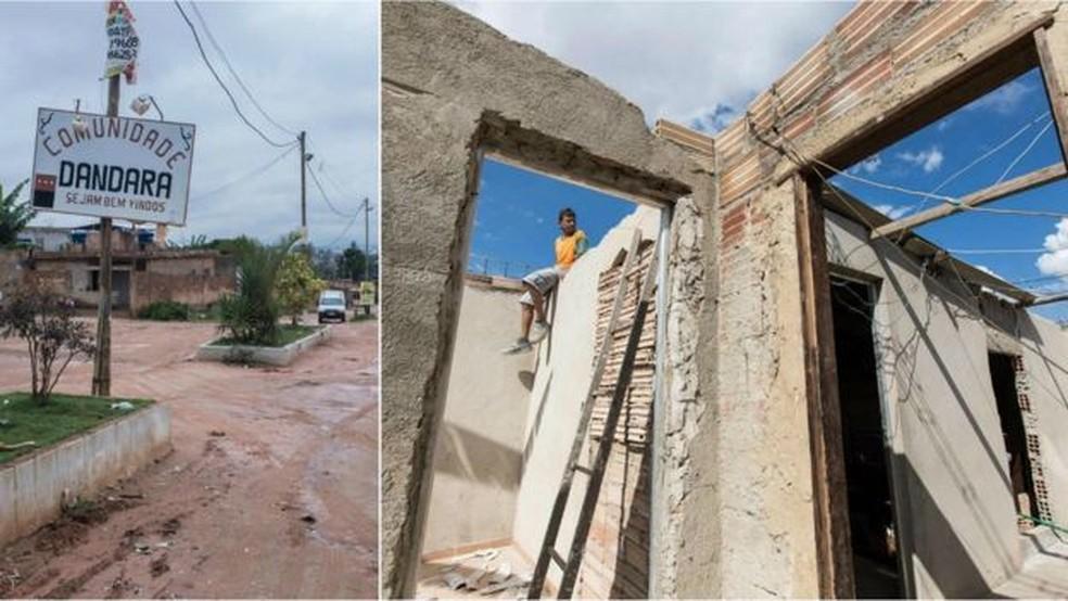 Entrada da área da ocupação e casa em obras na região; maioria das casas de alvenaria foi erguida em processo de mutirão (Foto: Bruno Figueiredo/BBC)