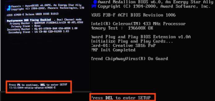 Tela inicial da BIOS mostrando a tecla que deve ser pressionada para acessá-la (Foto: Reprodução/Edivaldo Brito)