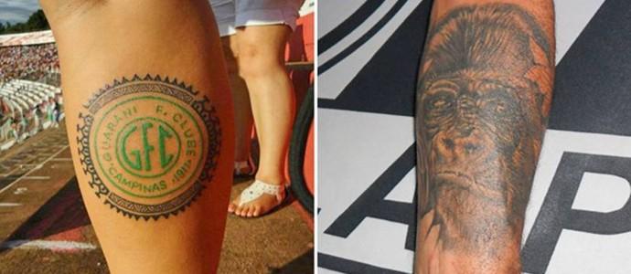 Tatuagens eternizam paixão por Guarani e Ponte Preta (Foto: Arte GLOBOESPORTE.COM)