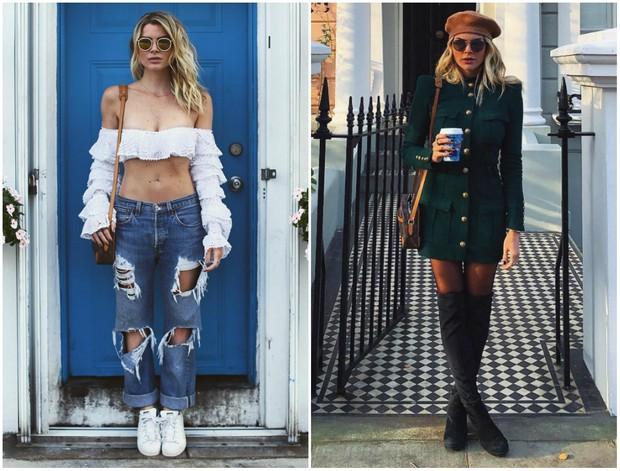 Os looks preferidos da viagem de Julia Faria: em Miami, à esquerda, e em Londres (Foto: Reprodução/Instagram)