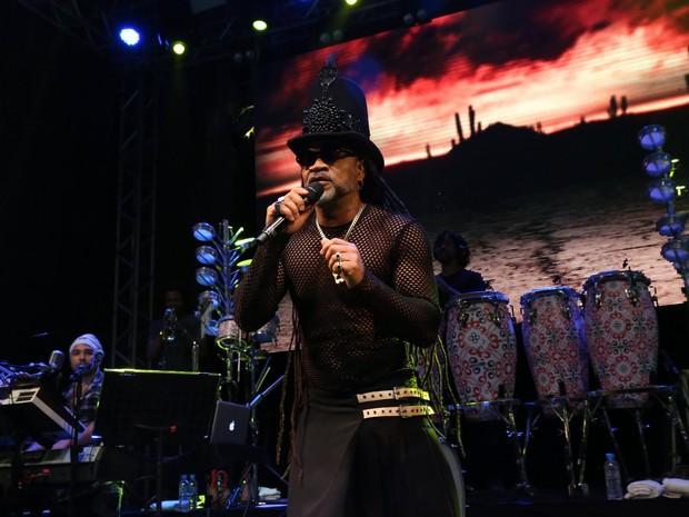 Carlinhos Brown em show em Salvador, na Bahia (Foto: Denilson Santos/ Ag. News)