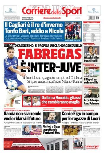 Jornal Fábregas Juventus x Inter de Milão (Foto: Reprodução / Corriere dello Sport)