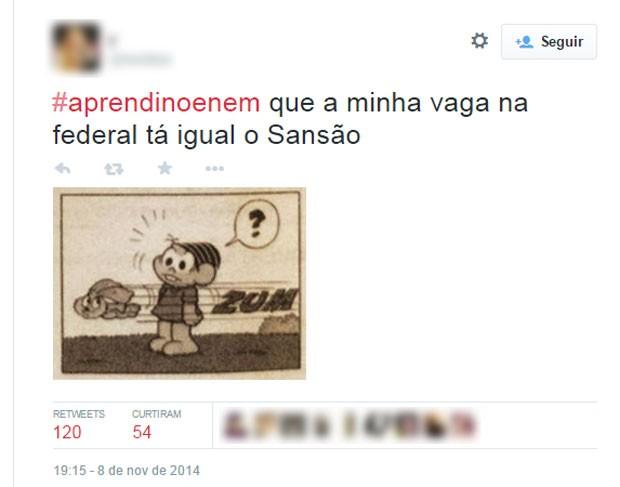 Prova do Enem teve questão sobre a Turma da Mônica, e o Sansão também virou tema dos memes do Enem (Foto: Reprodução/Twitter/rezokaa)