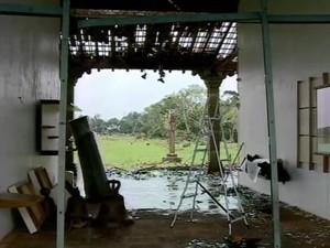 Sítio Arqueológico foi danificado com o tornado (Foto: Reprodução/RBS TV)