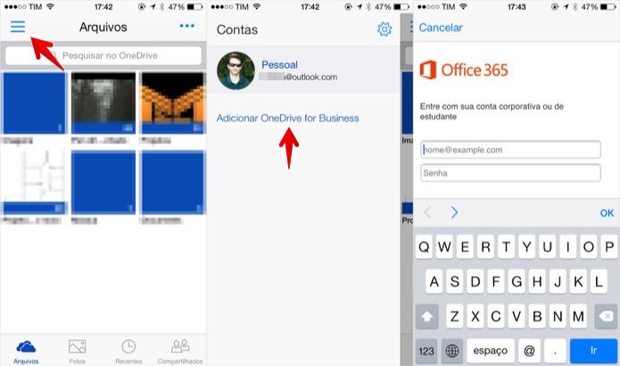 Adicionando conta do OneDrive for Business no iPhone (Foto: Reprodução/Helito Bijora)