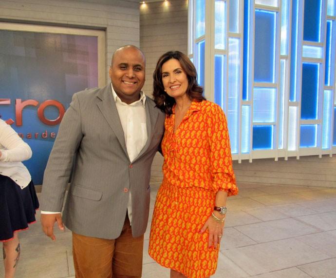 Convidado com a Fátima depois do programa  (Foto: Viviane Figueiredo Neto/Gshow)