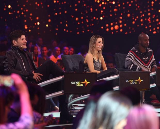 O trio de jurados reunidos no palco do SuperStar (Foto: Isabella Pinheiro/Gshow)
