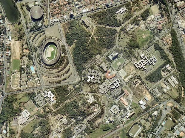 Mineirão, em Belo Horizonte, em foto feita em 7 de abril de 2001 (Foto: Base Aerofotogrametria)