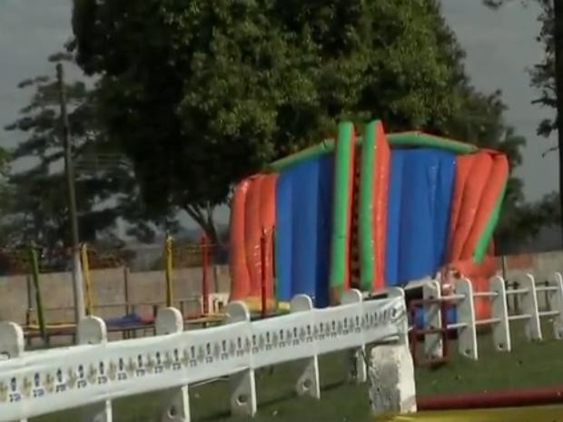Crianças também poderão se divertir num espaço com brinquedos infláveis (Foto: Reprodução/TV TEM)