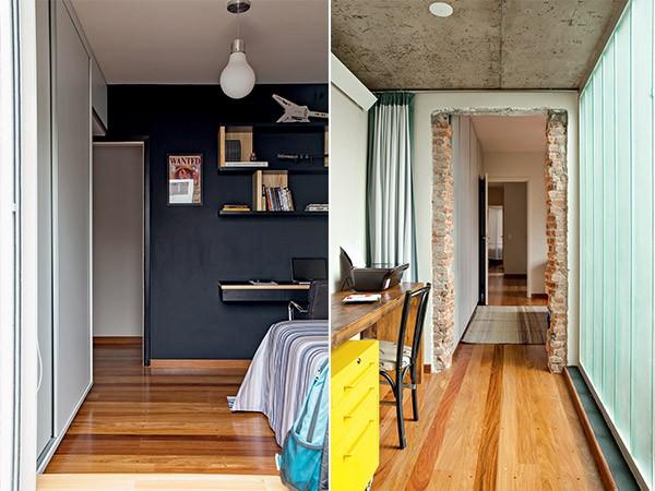 Quarto do filho | O assoalho de madeira tauari cobre todo o piso do andar superior. Na parede com tinta de lousa, as arquitetas criaram as prateleiras de madeira. A roupa de cama é da Auping Collectania (Foto: Edu Castello)