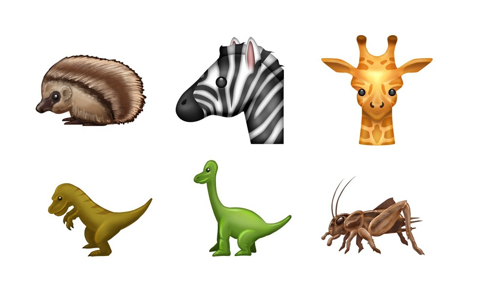Dinossauros, zebra, girada, porco espinho e grilo estão entre as novidades (Foto: Reprodução/Emojipedia)