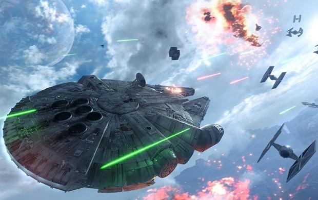 Combate entre naves é uma das partes mais divertidas de 'Star Wars Battlefront' (Foto: Divulgação/Electronic Arts)