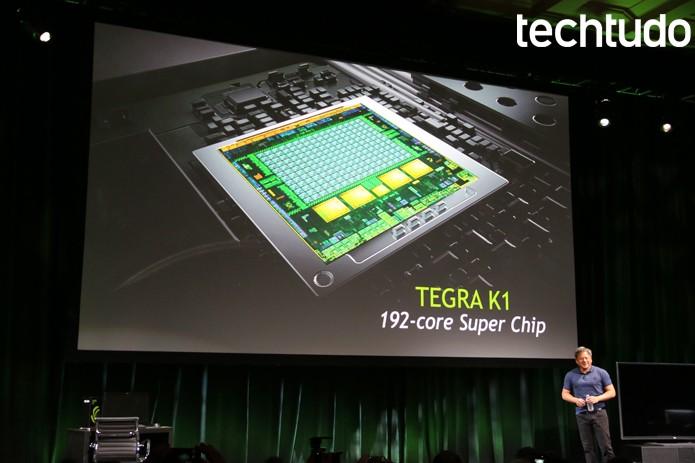 CEO da Nvidia, Jen-Hsun Huang apresenta o Tegra K1 (Foto: Fabrício Vitorino/TechTudo)