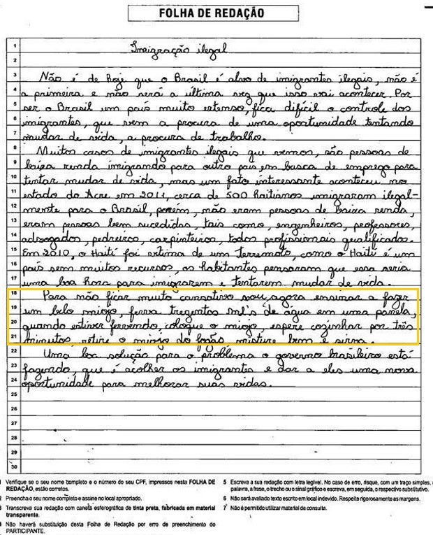 Redação com receita do macarrão instantâneo recebeu nota 560 no Enem (Foto: Reprodução/Facebook)