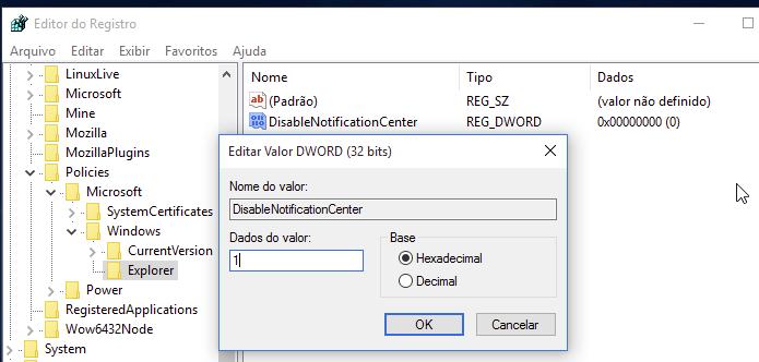 Configurando o valor para desativar a Central de ação do Windows (Foto: Reprodução/Edivaldo Brito)