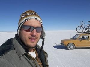 O aventureiro no Salar de Yuni, na Bolívia (Foto: Arquivo Pessoal)