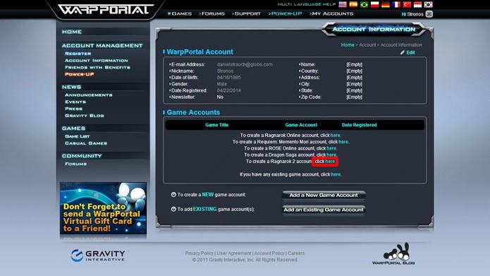 Clique no comando indicado na figura para criar uma conta de jogador (Foto: Reprodução/Daniel Ribeiro)