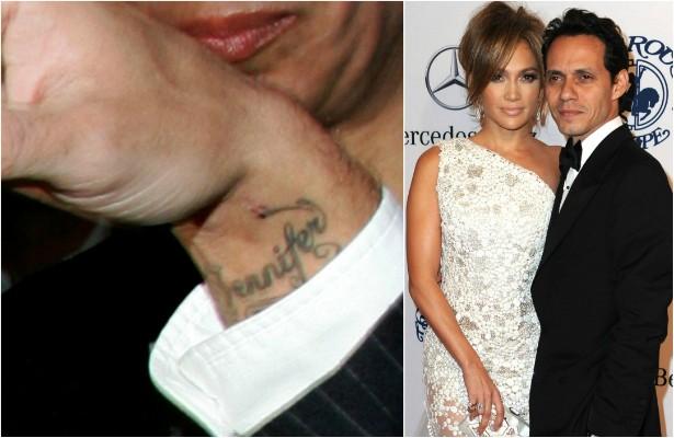 Marc Anthony tatuou o primeiro nome da amada, Jennifer Lopez, no pulso. O problema é que o casamento de sete anos se encerrou em 2011. Nessa época pós-divórcio, o músico só saía em público cobrindo completamente essa parte dos braços. (Foto: Getty Images)