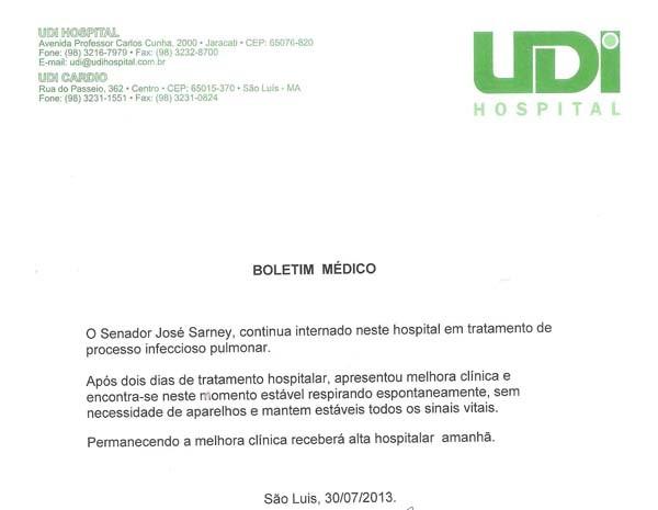 Novo boletim médico afirma que o senador José Sarney deverá receber alta amanhã (31). (Foto: Reprodução)