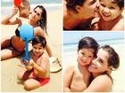 Deborah Secco se diverte com crianças na praia