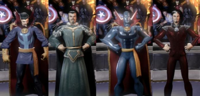 Estranho e seus uniformes em Marvel Ultimate Alliance (Foto: Reprodução/Felipe Vinha)