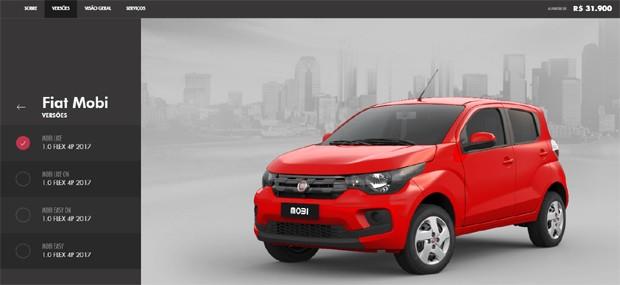Fiat Mobi aparece no Monte Seu Carro com preço inicial de R$ 31.900 (Foto: Reprodução)